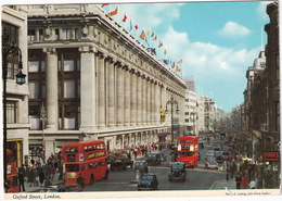 London: AUSTIN A30 SEVEN, FX3 TAXI, MORRIS OXFORD VI, LORRY, DOUBLE DECK BUSES - Oxford Street - Toerisme