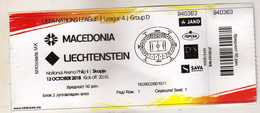 Ticket.Football.soccer.2018 UEFA Nations League 4.Group D.Macedonia Vs Liechtenstein - Tickets D'entrée