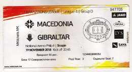 Ticket.Football.soccer.2018 UEFA Nations League 4.Group D.Macedonia Vs Gibraltar - Eintrittskarten