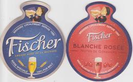 974 Sous Bock FISCHER - Brasserie LOCALE A LA REUNION - BEER PILS BEAR BIERE- DOUBLE FACE  BLANCHE ROSE & TRADITIONNELLE - Sous-bocks