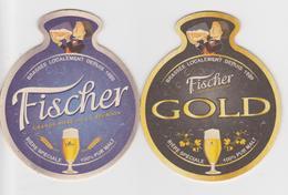974 Sous Bock FISCHER - Brasserie LOCALE A LA REUNION - BEER PILS BEAR BIERE- DOUBLE FACE  GOLD & TRADITIONNELLE - Sous-bocks