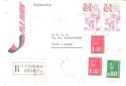 Réunion :- ST DENIS Sur Letttre Recommandée Affranchissement Divers - Postmark Collection (Covers)