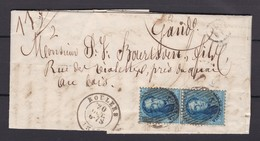 N° 15 Paire / Lettre Double Port De Roulers Vers Gand  Boite De Levée 21 10 1863  Lac - 1863-1864 Medallones (13/16)