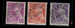 France 1922 - Neuf ** - Y&T N° Preob 78 - 79 - 80 - Type Mercure Préoblitéré - 20 C. 30 C. 40 C. - Préoblitérés