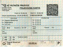 Transportation Tickets > One-day Ticket > Railway > Croatia.relation Zagreb-Koprivnica - Europe