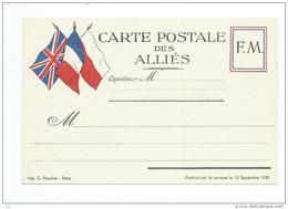 Militaria.CARTE POSTALE Des ALLIES 3 Drapeaux  -F.M FM  Franchise Militaire.Imprimerie G.Rouchet  (Guerre ) - Marcophilie (Lettres)