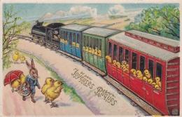 ¤¤   -   Carte Gauffrée Fantaisie   -  Joyeuses Pâques   -  Lapin , Poussins -   ¤¤ - Pâques