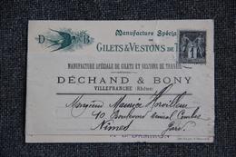Carte De Visite - VILLEFRANCHE , DECHAND Et BONY, Gilets Et Vestons. - Cartoncini Da Visita