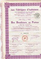 23-FABRIQUES D'AUBUSSON. CROC, JORRAND & DANTON. - Shareholdings