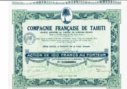 TAHITI-FRANCAISE DE TAHITI. CIE ... PAPEETE. Action 1929 - Hist. Wertpapiere - Nonvaleurs