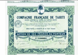 TAHITI-FRANCAISE DE TAHITI. CIE ... PAPEETE. Action 1929 - Actions & Titres