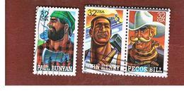 STATI UNITI (U.S.A.) - SG 3219.3221  - 1996 FOLK HEROES (3 STAMPS; 2 SE-TENANT)    - USED - Used Stamps