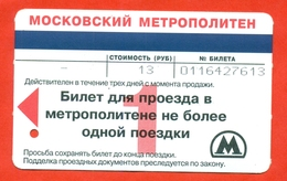 Russia 2005. City Moscow. Tickets On Sybway. One Way Ticket. - Metro