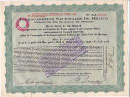 Pas 1)2 Titres Ferrocarriles Nationales De Mexico  (Chemin De Fer Nationale Du Mexique ) - Aandelen