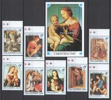 U367 GAMBIA ART PAINTINGS CHRISTMAS 90 RAPHAEL #1093-1100 MICHEL 32 EU 1SET+1BL MNH - Religieux