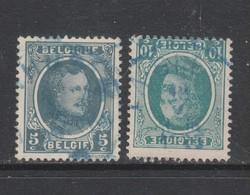 COB 193 - 194 Oblitération Télégraphique Bleue - 1922-1927 Houyoux