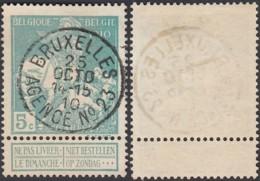"""Belgique COB90 - Oblitération Agence """" Bruxelles N°23 """" (DD) DC2386 - 1910-1911 Caritas"""