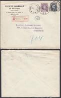 """Belgique - Lettre Recommandé COB 197+211- Agence """"Bruxelles N°38 """" (DD) DC2398 - Marcophilie"""