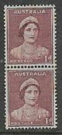 Australia, GVIR, 1942, 1 D Maroon, Coil Pair,  MNH ** , Gum Tone - 1937-52 George VI