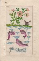 Brodée : 1ér AVRIL - Avec Un Petit Volet ( Poéme ) - Embroidered