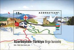 Azerbaijan 2017 Baku-Qars Railway Train Joint Issue With Turkey SS MNH - Trains