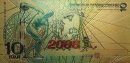 Billet Plaqué Or 24K  10 Yuan 2008 Colorisé UNC - Billets