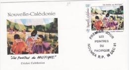 FDC Nouvelle Calédonie 1991 Peintres Du Pacifique. Cricket Calédonien. - FDC