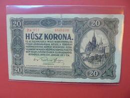 HONGRIE 20 KORONA 1920 CIRCULER - Hongrie