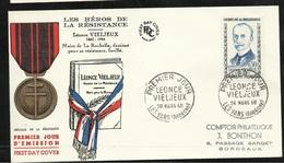 FDC Lettre Illustrée Premier Jour Les Vans 26/3/1960 N°1251Vieljeux Héros De La Résistance TB Soldé  à Moins De 20 % ! ! - 1960-1969