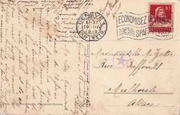 CARTE POSTALE DE GENEVE 1919 POUR MULHOUSE CENSURE ETOILE - WW I
