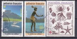 Polynésie La Peche Aux Cailloux Philanippon 91 N°390-391-393 Oblitéré - Polynésie Française