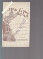 """Militaire / 36è De Ligne / Banquet """"Vingt Ans Après"""" Guerre 1875-1876 / Illustrateur Ernest Langlois - Announcements"""