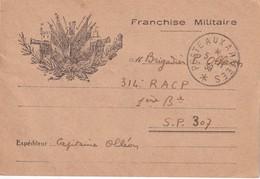 FRANCE 1939 CARTE DE FRAANCHISE MILITAIRE  POSTE AUX ARMEES - Marcophilie (Lettres)