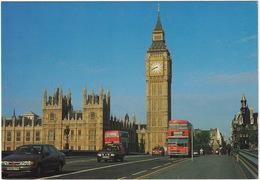 London: FORD SCORPIO, ESCORT MK3 PANEL-VAN, FIËSTA MK2, MCW METROBUS, DOUBLE DECK BUS - Westminster Bridge - Toerisme