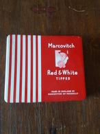 D - Boite De Cigarettes Métallique Marcovitch Red & White - Tabaksdozen (leeg)