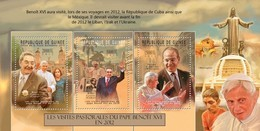 GUINEA 2012 SHEET POPE BENEDICT XVI PAPE BENOIT PASTORAL VISITS POPES PAPA RELIGION RAUL CASTRO FELIPE CALDERON Gu12410a - Guinée (1958-...)