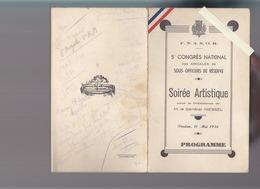 Militaire / Programme / Congres Amicale Sous Officiers / Verdun Mai 1936 / Orchestre Jazz , Illusioniste Moingeon - Programmes