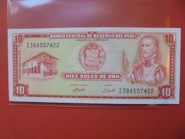 PEROU 10 SOLES 1974 PEU CIRCULER - Pérou