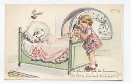 Illustrateur - Janser - Chien Dans Le Lit Des Enfants  .- RECTO / VERSO-- B50 - Janser