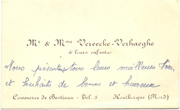 Visitekaartje - Carte Visite - Mr & Mme Vereecke - Verhaeghe - Houtkerque - Cartes De Visite