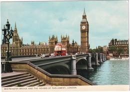 London: VAUXHALL VIVA, AUSTIN MINI, AEC REGENT DOUBLE DECK BUS - Westminster Bridge - Toerisme