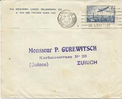 LETTRE POUR LA SUISSE 1937 AVEC TIMBRE A 1 FR 50 POSTE AERIENNE - Marcophilie (Lettres)