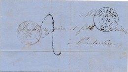 Lettre Suisse Donneloye Taxe 2 Pour Pontarlier France Rare - 1854-1862 Helvetia (Non-dentelés)