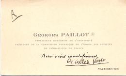 Visitekaartje - Carte Visite - Professeur Georges Paillot - Maubeuge - Cartes De Visite