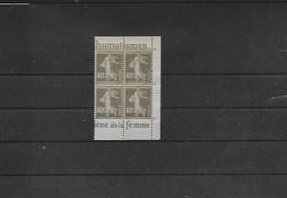 Bloc Neufs Xx De 4 Timbres Avec Bande Publicitaire Type Semeuse N° 193a - Advertising