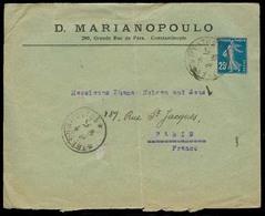 FRENCH LEVANT. 1919 (2 April). Constantinople - France. Fkd Env / TP - XX. Fine / C Semeuse. - France (ex-colonies & Protectorats)