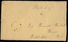 CANADA. 1868 (26 Jan). Wallace Town / CW - USA / Mi / Romeo / Paid Mns / Red Cds. Stampless Env. Via St Thomas / UC. - Canada