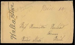CANADA. 1867 (Dec). Wallace Town / CW - USA / Mi / Romeo Stampless Env / Paid 10c Mns. Fine. - Canada