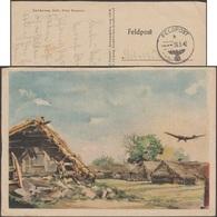 Allemagne 1942. Carte De Franchise Militaire De L'OKW. Granges Survolées Par Un Avion à Basse Altitude - Avions