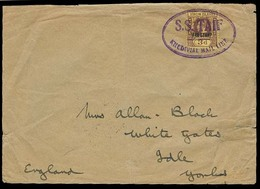 """EGYPT. 1931. Cover Fw 3d Virgin Isl Opt """"War Stamp"""" Adh Canc SS Taif Khedivial Mail Line Oval Violet Cachet. Back Stampe - Égypte"""